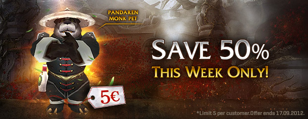 Pandaren Monk Pet 50% Off – This Week Only!